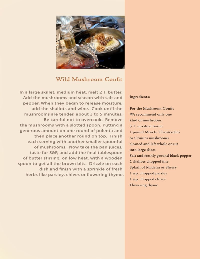 Proposal recipe wild mushroom confit