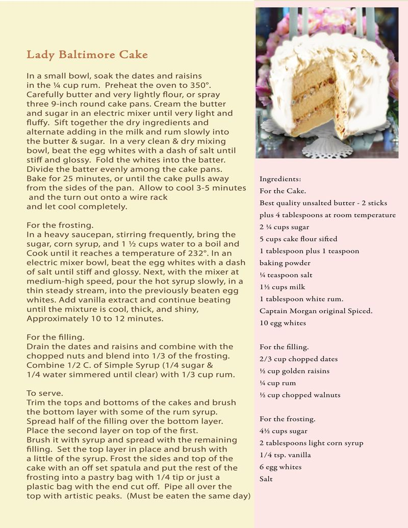 Proposal recipe Lady Baltimore cake