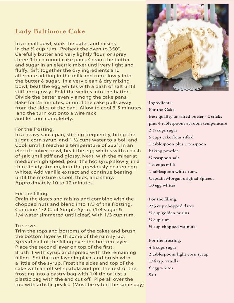Proposal recipe Lady Baltimore cake