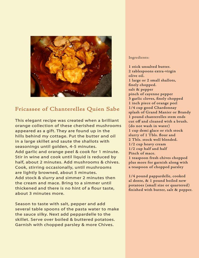 Proposal Book Recipe Fricassee Chanterelles