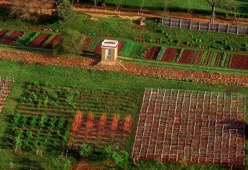 Monticello arial view of garden